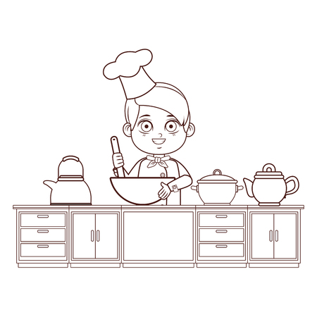 Chef boy with spoon cartoon cooking in the kitchen vector illustration graphic design Illustration