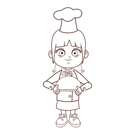 Chef girl with dish dome cartoon vector illustration graphic design Ilustração
