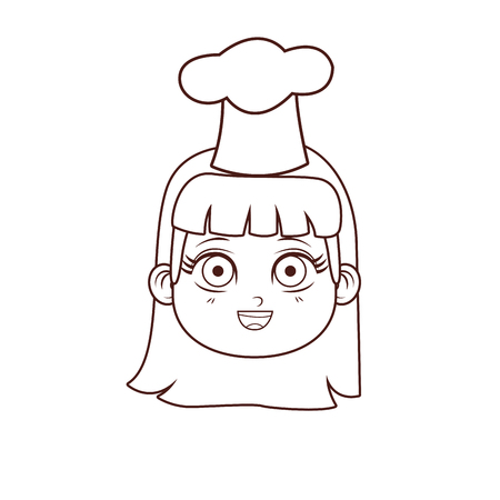 Chef kid girl with hat smiling face vector illustration graphic design
