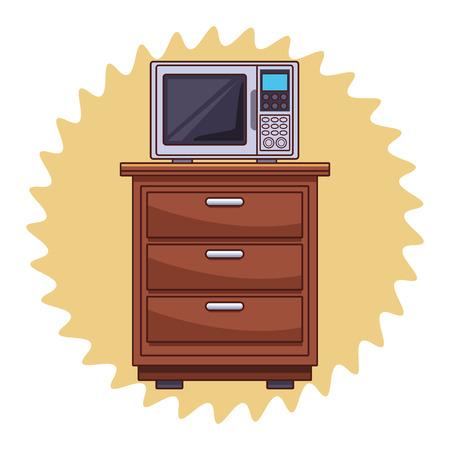 Microwave on kitchen cabinet over round label background vector illustration graphic design Archivio Fotografico - 126868925