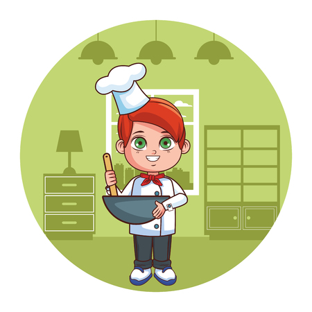 Chef boy with spoon in bowl cartoon  inside home round icon vector illustration graphic design