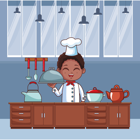 Chef boy with dish dome cartoon cooking in the kitchen  vector illustration graphic design