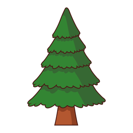 Tree pine cartoon isolated vector illustration graphic design