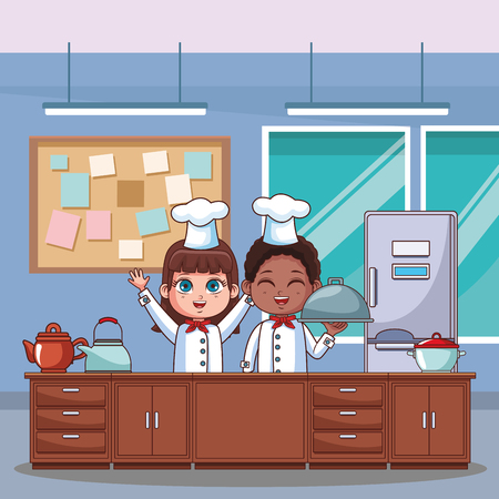 Chef boy and girl cartoons cooking in the kitchen