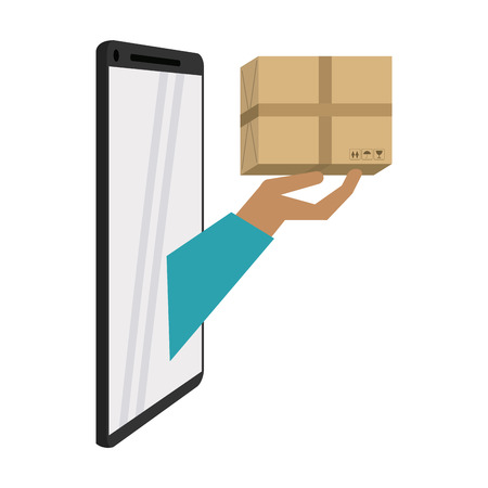 Online delivery and logistics with smartphone concept vector illustration graphic design