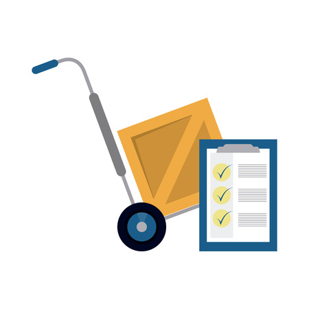 Delivery and logistics handtruck box and clipboard vector illustration graphic design
