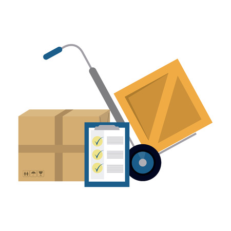 Delivery and logistics handtruck boxes and clipboard vector illustration graphic design