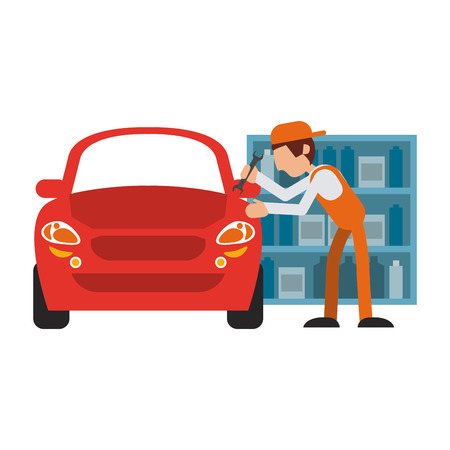 Car mechanic fixing vehicle vector illustration graphic design 向量圖像