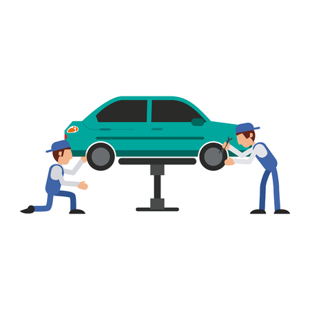 Car mechanics fixing with wrenchs a vehicle vector illustration graphic design