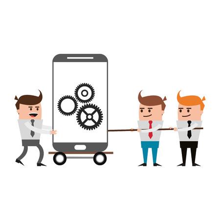 Businessmen pulling with rope smartphone on cart vector illustration graphic design Illustration