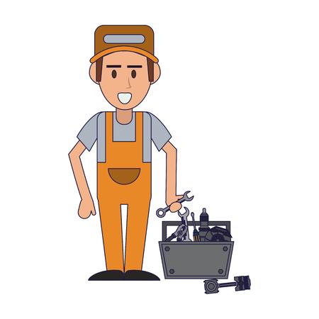 Car mechanic with toolbox vector illustration graphic design Illustration