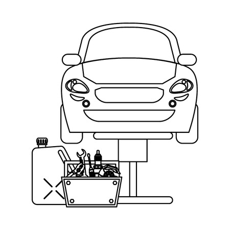 Car on hydraulic arm with container and toolbox vector illustration graphic design Vectores