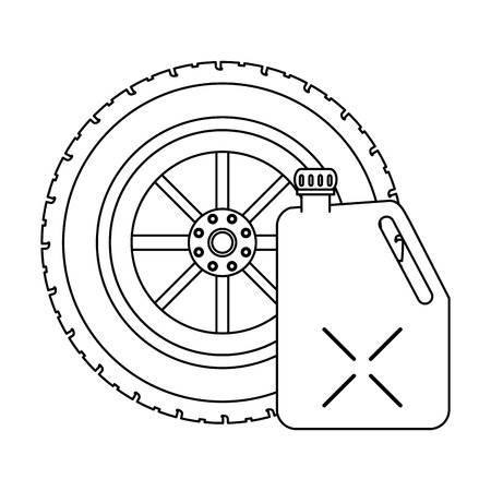 Tire wheel and container vector illustration graphic design Vettoriali