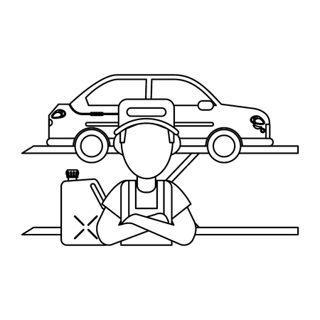 Car mechanic with container vector illustration graphic design