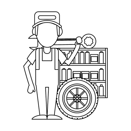 Car mechanic with wrench and wheel vector illustration graphic design
