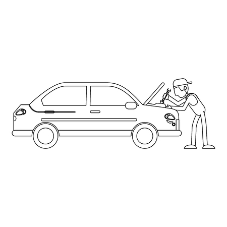 Car mechanic fixing engine with wrench vector illustration graphic design Illustration