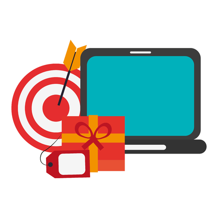shopping onlinle laptop and gift box with label tag and target vector illustration graphic design Stock fotó - 126801355