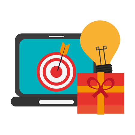 shopping online laptop and gift box with idea vector illustration graphic design Illusztráció
