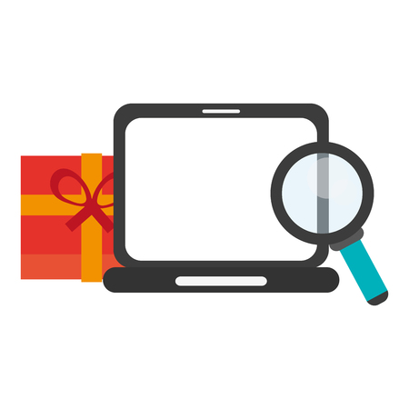 shopping online with laptop gift box and magnifying glass vector illustration graphic design