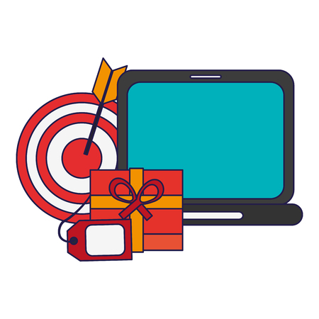 shopping onlinle laptop and gift box with label tag and target vector illustration graphic design Stock fotó - 126801457