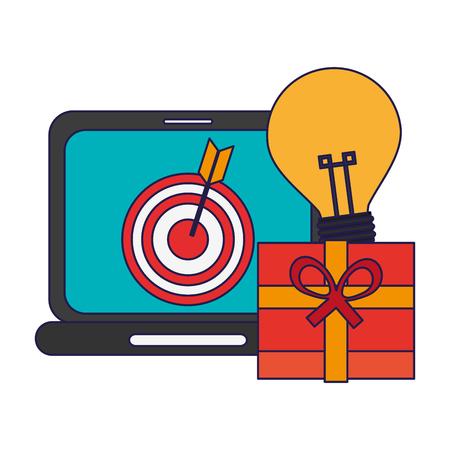 shopping online laptop and gift box with idea vector illustration graphic design Vektoros illusztráció