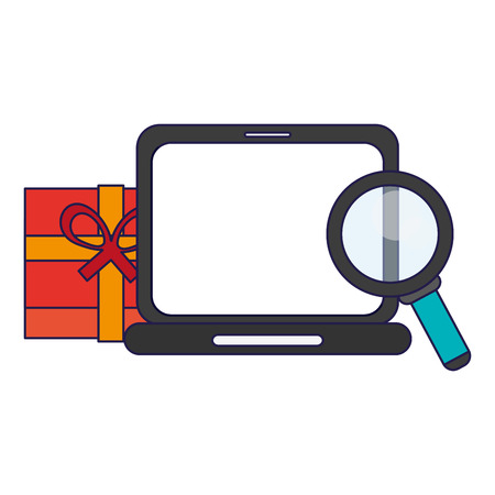 shopping online with laptop gift box and magnifying glass vector illustration graphic design Stock fotó - 126801466