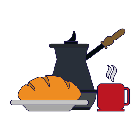 coffee kettle and mug with bread vector illustration graphic design Иллюстрация
