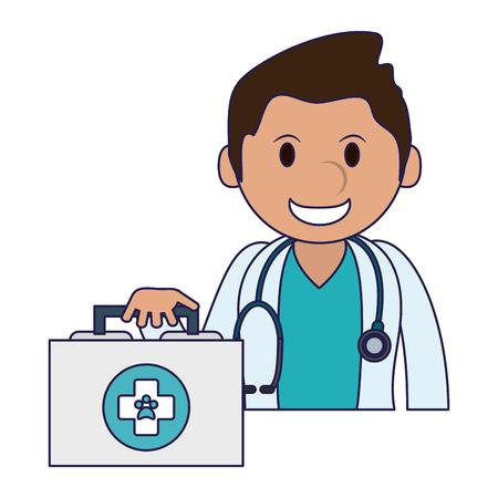 Tierarzt mit medizinischem Koffervektorillustrations-Grafikdesign