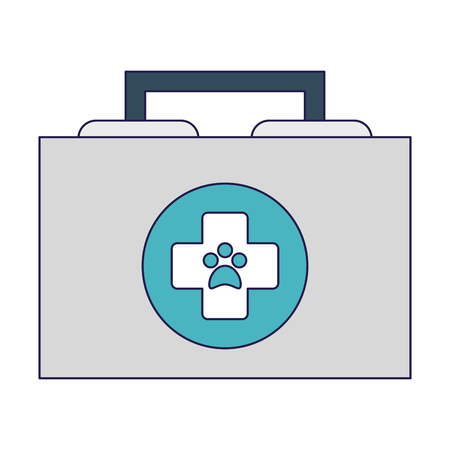 Veterinary first aids suitcase symbol vector illustration graphic design