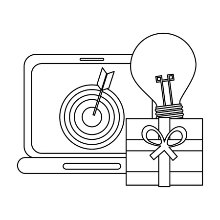 shopping online laptop and gift box with idea vector illustration graphic design  イラスト・ベクター素材