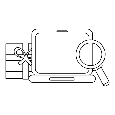 shopping online with laptop gift box and magnifying glass vector illustration graphic design Stock fotó - 113893528