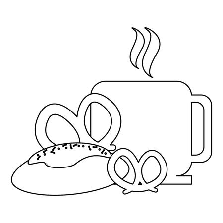coffee mug and croissant bread with pretzels vector illustration graphic design