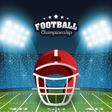 American football championship poster stadium field scenery with lights vector illustration graphic design