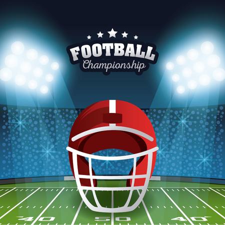 Paesaggio del campo dello stadio del manifesto del campionato di football americano con il disegno grafico dell'illustrazione di vettore delle luci