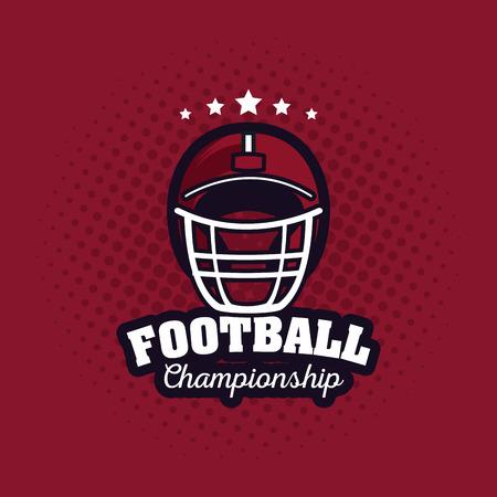 American football championship poster equipment cartoon vector illustration graphic design