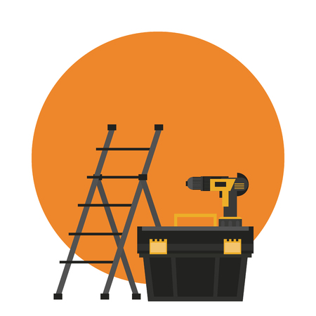 Construction tools ladle toolbox and drill round icon vector illustration graphic design