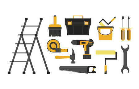 Construction tools set cartoons vector illustration graphic design 矢量图像