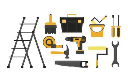 Ensemble d'outils de construction dessins animés vector illustration graphisme