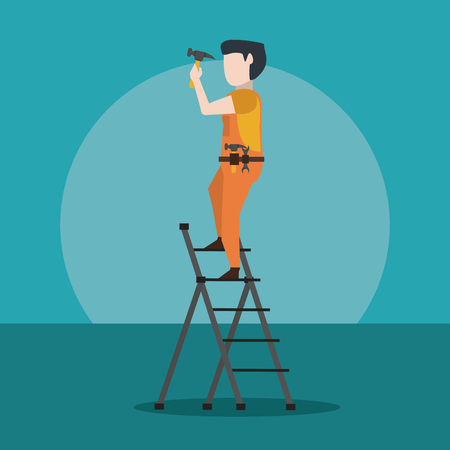 construction worker working with tool vector illustration graphic design Vettoriali