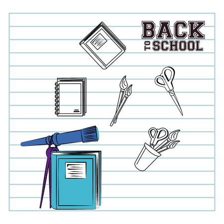 Back to school poster with supplies on sheet page cartoons vector illustration graphic design
