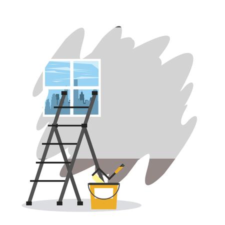 construction tools inside home over grunge background vector illustration graphic design Illustration