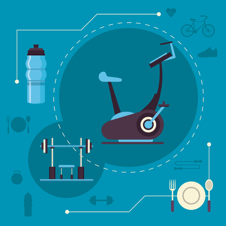 Fitness and healthy lifestyle sport elements concept vector illustration graphic design