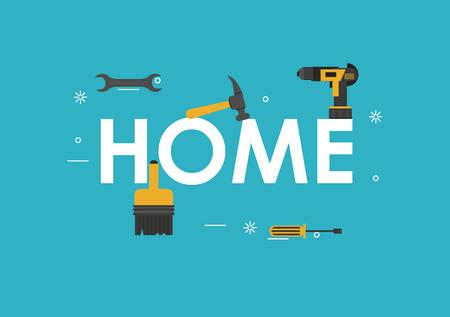 Home und Tools Banner-Vektor-Illustration-Grafik-Design