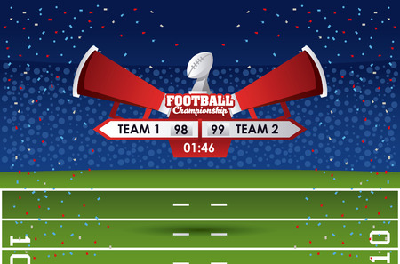 American football championship score match over stadium field vector illustration graphic design