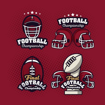 Football championship labels set vector illustration graphic design