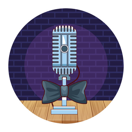 Entertainment show vintage microphone with bowtie over stage scenery vector illustration graphic design  イラスト・ベクター素材