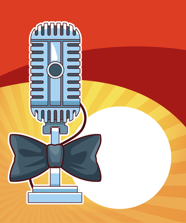 Entertainment show vintage microphone with bow over red and yellow background vector illustration graphic design  イラスト・ベクター素材