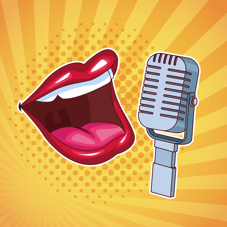 Entertainment show mouth speaking with microphone over yellow background vector illustration graphic design
