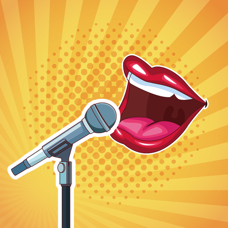 Entertainment show mouth speaking on microphone cartoon over yellow background vector illustration graphic design