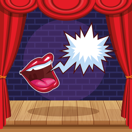 Show and theater mouth with blank speech bubble vector illustration graphic design Vettoriali